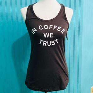 Body Rages Coffee Faded Black Tank Top Small